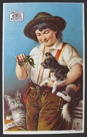James Pyles' Pearline Trade Card ~ Boy with Dog, Cat, Crawfish