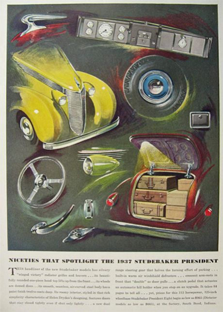 1937 Features of the Studebaker President, Illustrated
