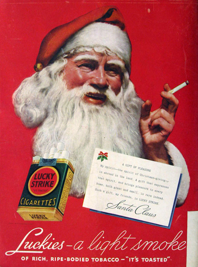 1936 Lucky Strike Ad ~ Santa Smokes
