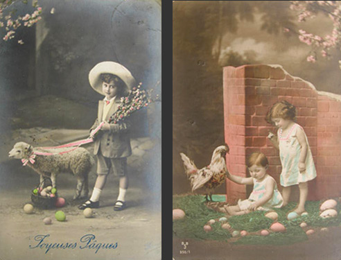Children at Eastertime Vintage Photo Postcards