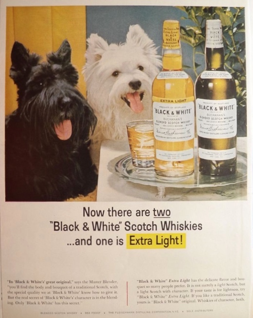 1964 Black & White Scotch Ad ~ Scottie & Westie Dogs