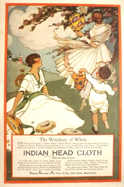 1918 Indian Head Cloth Ad ~ The Witchery of White