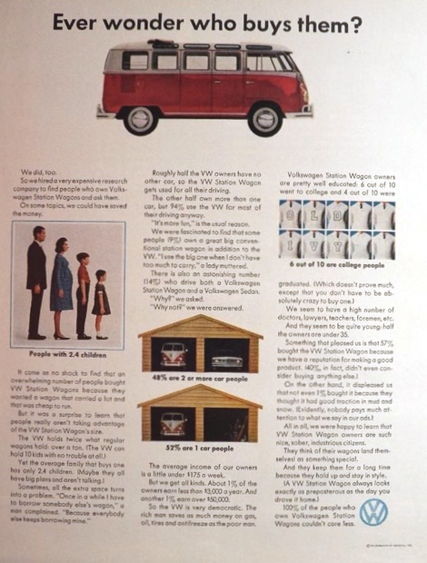 1964 Volkswagen VW Bus Ad ~ Who Buys Them?
