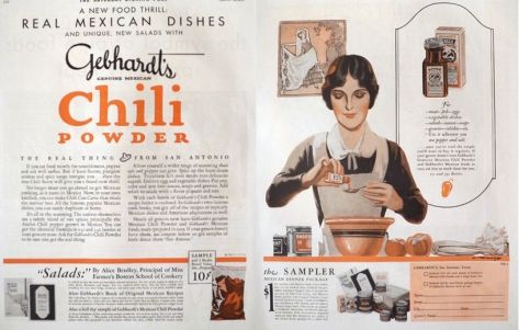 1930 Gebhardt S Chili Powder Ad A New Food Thrill Vintage Food Ads Other