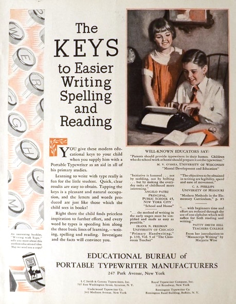 1929 Give Your Kid a Typewriter Ad