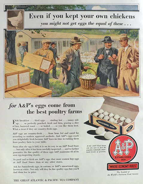1930 A&P Food Stores Ad ~ Best Eggs
