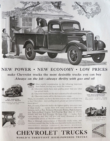 1936 Vintage Chevy Truck Ad ~ More Pulling Power