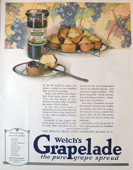 1921 Welch's Grapelade Grape Spread Ad