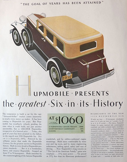 1930 Hupmobile Six Ad ~ Greatest in History
