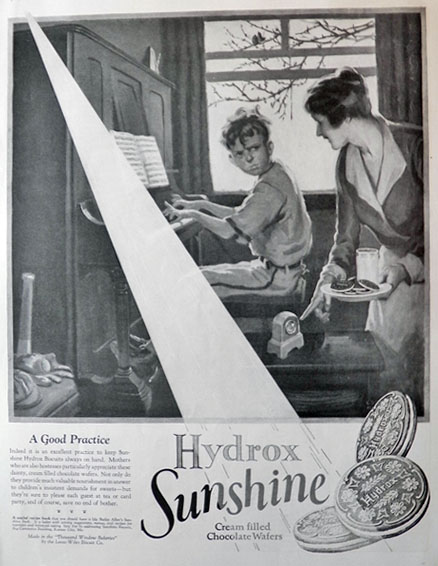 1926 Sunshine Hydrox Cookies Ad ~ Piano Practice