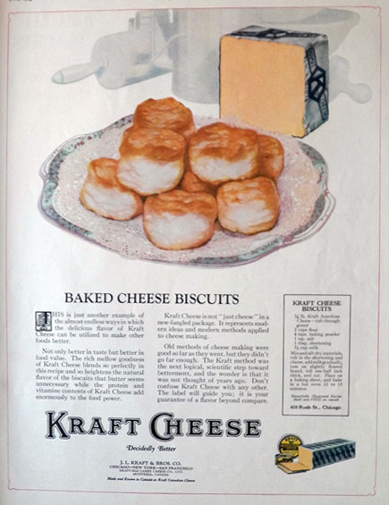 1924 Kraft Cheese Ad ~ Recipe for Cheese Biscuits