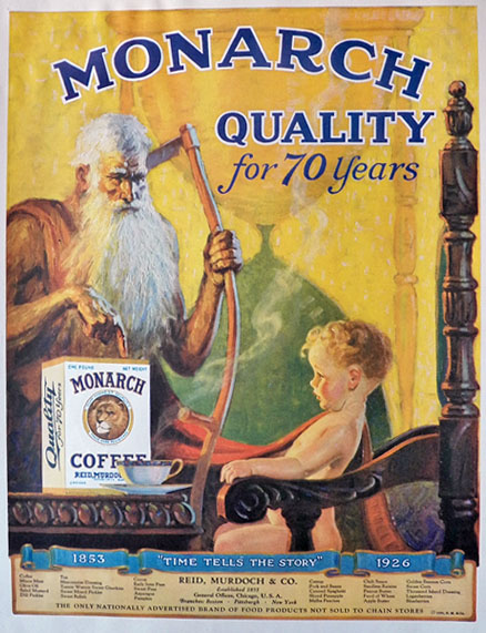 1926 Monarch Coffee Ad ~ Father Time