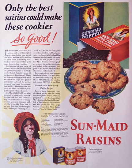 1929 Sun-Maid Raisins Ad ~ Oatmeal Cookies Recipe