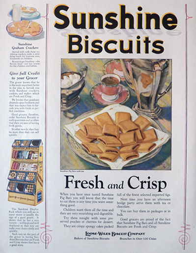 1924 Sunshine Biscuits Ad ~ Fig Bars