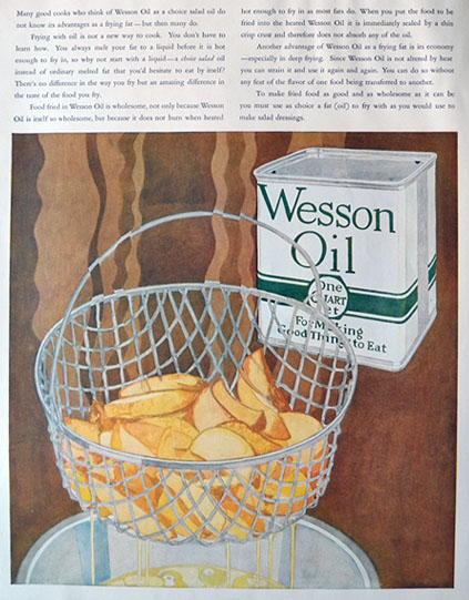 1926 Wesson Oil Ad ~ Basket of French Fries