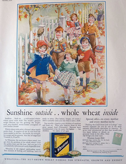 1928 Wheatena Cereal Ad ~ Kids Walk to School