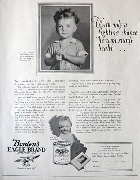 1926 Borden's COndensed Milk Ad ~ L. Dow Cushing, Youngstown OH