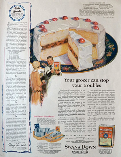 1926 Swans Down Cake Flour Ad ~ Lady Baltimore Recipe