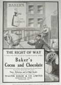 1918 Baker's Cocoa & Chocolate Ad ~ Horse Drawn Delivery Cart