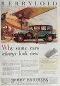 1928 Berryloid Car & Plane Lacquer Ad ~ Why Some Cars Look New