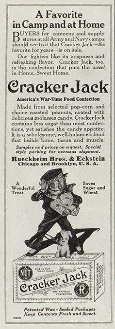 1918 Early Cracker Jacks Candy Ad ~ In Camp & At Home