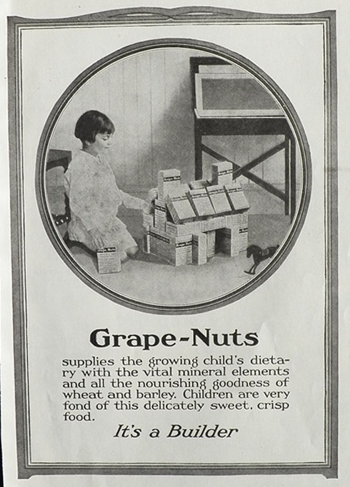 1919 Grape Nuts Cereal Ad ~ It's a Builder