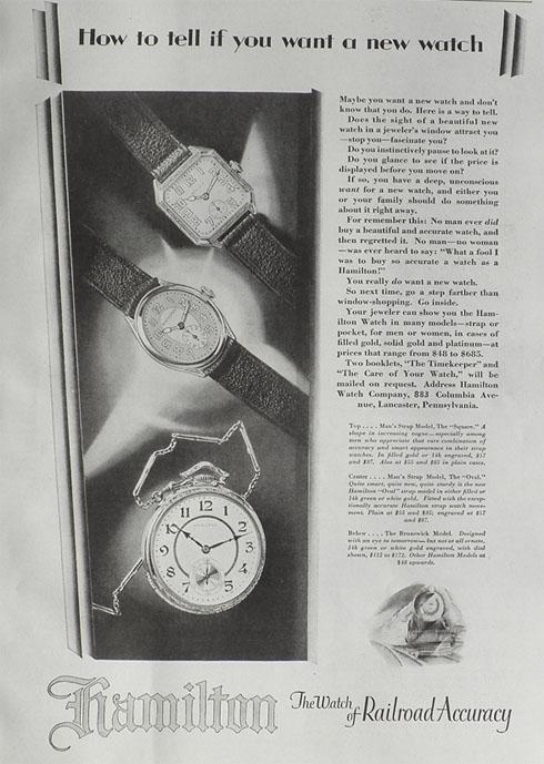 1928 hamilton watch ad