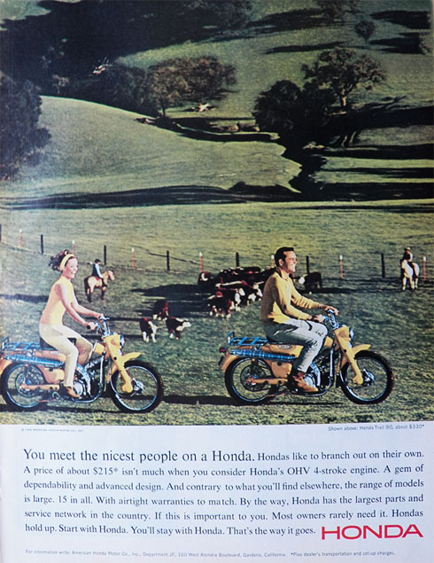 vintage honda motorcycle ads. 1965 vintage honda trail 90 motorcycle ad the nicest people ads
