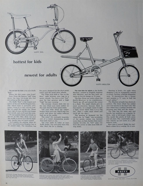 1966 Vintage Huffy Rail & Moulton Bicycle Ad