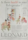 1928 Leonard Refrigerator Ad ~ Children's Party