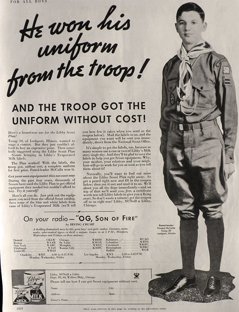 1935 Libby's Milk Ad ~ Lockport, IL Boy Scout Troop