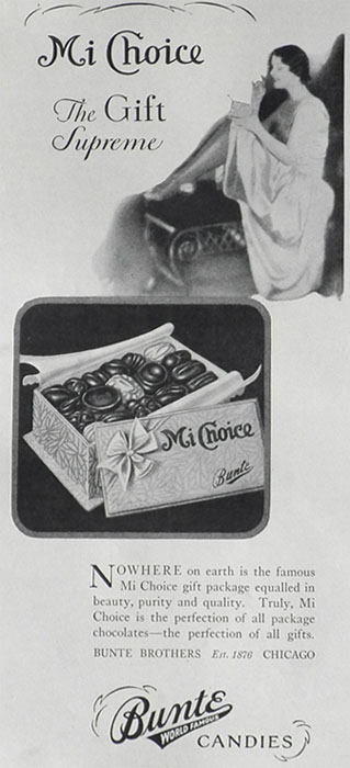 1928 Bunte Candy Ad ~ Mi Choice Gift Package