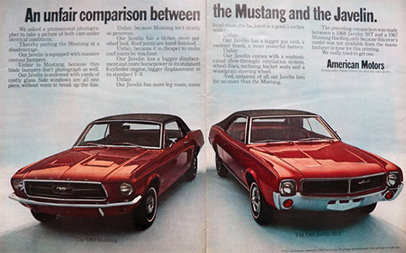 1968 AMC Javelin SST Ad ~ Unfair Comparison With Mustang