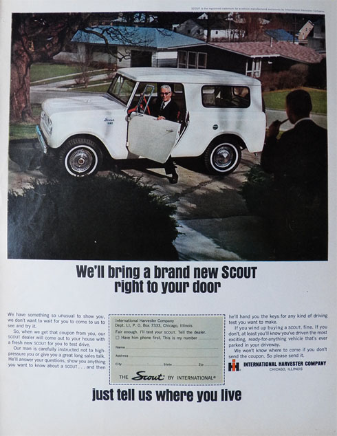 1965 International Harvester Scout Ad ~ Brought Right To Your Door