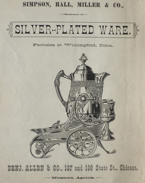 1882 Simpson, Hall, Miller Silverplate Ad ~ Tea Set
