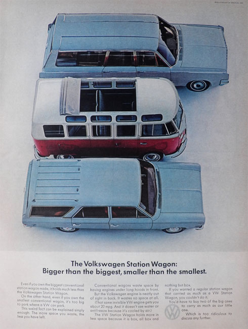 1965 Volkswagen Bus Ad ~ Bigger Than The Biggest