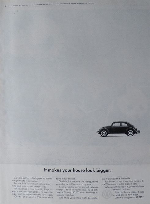 1964 Volkswagen VW Beetle Ad ~ Makes Your House Look Bigger