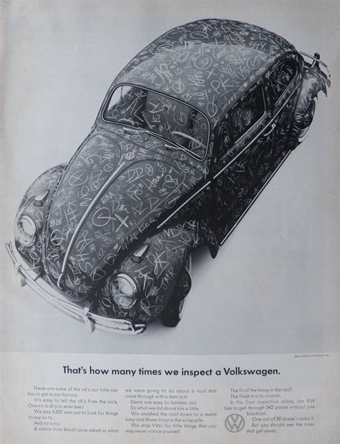 1965 Volkswagen VW Beetle Ad ~ Inspection