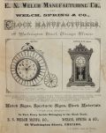 1882 E.N. Welch Antique Clock Ad ~ Bicycle & Hatton Clocks