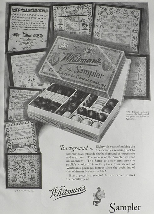 1928 Whitman's Sampler Candy Ad ~ Framed Samplers