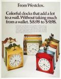 1970 Westclox Wall Clock Ad ~ Countryside, Quincy, Spindle