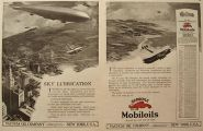1919 Mobiloil Vacuum Oil Ad ~ Blimps & Airplanes