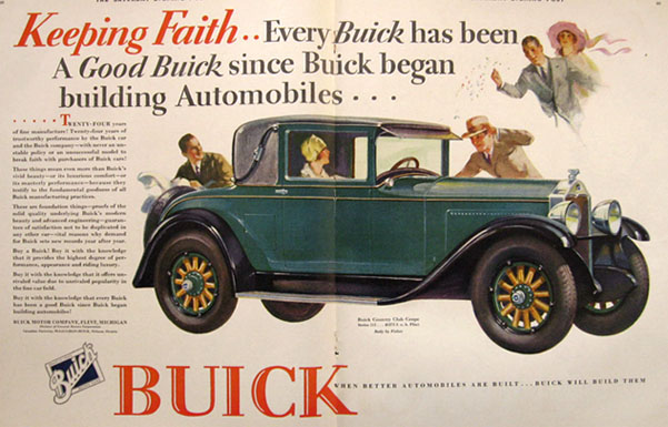 1928 Buick Country Club Coupe Ad ~ Keeping Faith