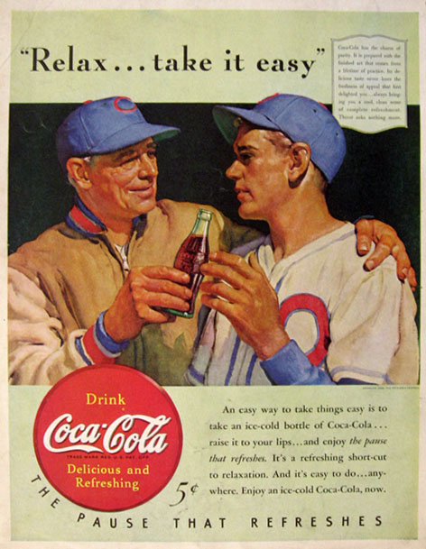 1940 Coke Coca Cola Ad ~ Baseball Player