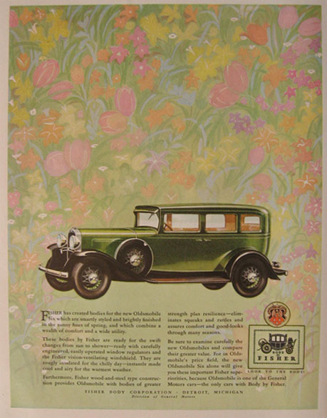 Print Advertisement For Body By Fisher Featuring The Oldsmobile Six