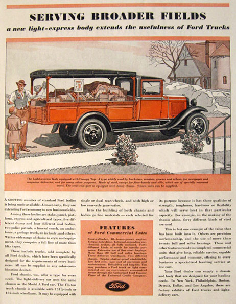 1931 Ford Truck Ad ~ Light Express Body w/Canopy Top