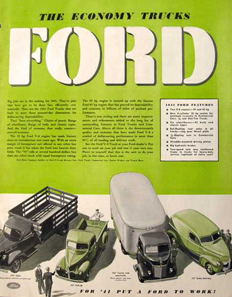 1941 Ford Economy Truck Ad ~ Stake, Pick-Up, Tractor Trailer, Sedan Delivery
