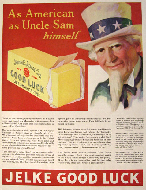1931 Jelke Good Luck Margarine Ad ~ Uncle Sam