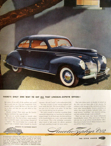 1939 Lincoln Zephyr V-12 Ad ~ Only One Way