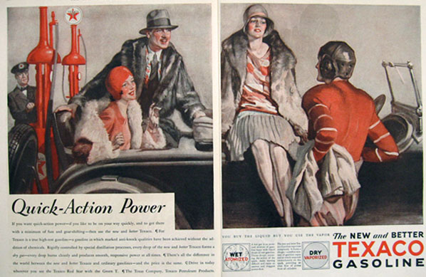 1928 Texaco Gasoline Ad ~ Quick Action Power